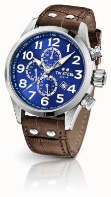 TW Steel Volante 45mm chronographe bracelet en cuir marron VS63