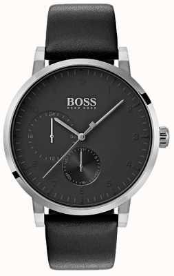 Boss Mens Oxygene tout noir bracelet en cuir bracelet cadran sunray 1513594