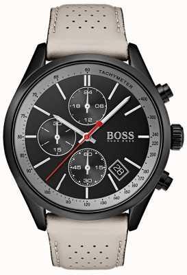BOSS Montre homme grand-prix chronographe noir bracelet cuir gris 1513562