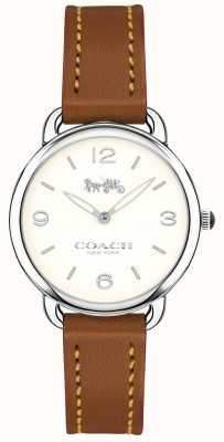 Coach Womens delancey slim bracelet en cuir marron montre blanc cadran 14502789