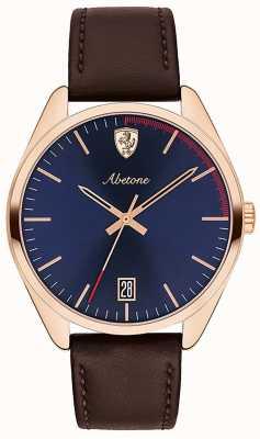 Scuderia Ferrari Montre à bracelet en cuir brun pour homme avec cadran bleu 0830500