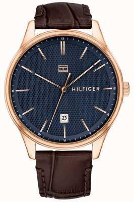 Tommy Hilfiger Montre homme damon bracelet en cuir marron cadran bleu 1791493