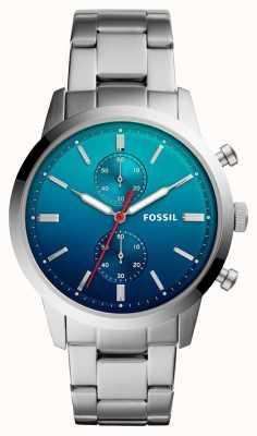 Fossil Bracelet homme en acier inoxydable avec cadran ombre bleu FS5434