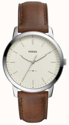 Fossil Mens la montre à bracelet en cuir marron minimaliste FS5439