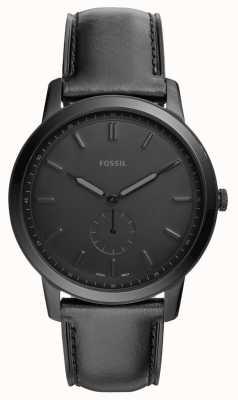Fossil Mens la montre à bracelet en cuir noir minimaliste FS5447