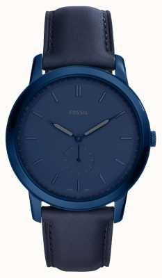 Fossil Mens la montre à bracelet en cuir bleu minimaliste FS5448