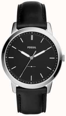 Fossil Mens la montre à bracelet en cuir noir minimaliste FS5398