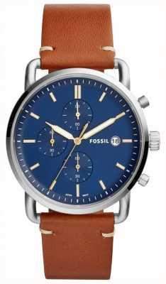 Fossil Montre de banlieue pour hommes bracelet chronographe en cuir brun chronographe FS5401