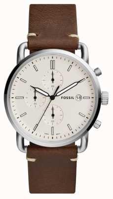 Fossil Montre de banlieue pour homme blanc bracelet chronographe en cuir marron FS5402