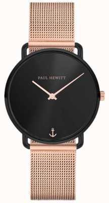 Paul Hewitt Unisexe Miss Ocean Line 32mm cadran noir maille d'or rose PH-M-B-BS-4S