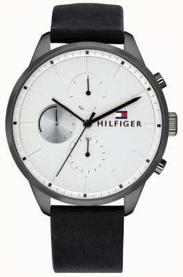 Tommy Hilfiger Homme chase chronographe bracelet en cuir noir cadran blanc 1791489