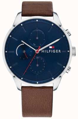 Tommy Hilfiger Bracelet homme chase chronographe cuir marron cadran bleu 1791487