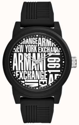 Armani Exchange Mens atlc | bracelet en silicone noir | AX1443