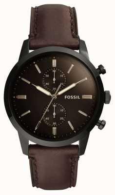 Fossil Bracelet en cuir homme de 44mm FS5437