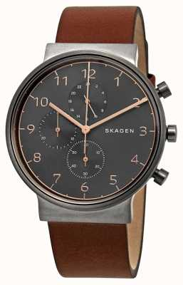 Skagen Chronographe ancher homme cadran noir bracelet en cuir marron SKW6418