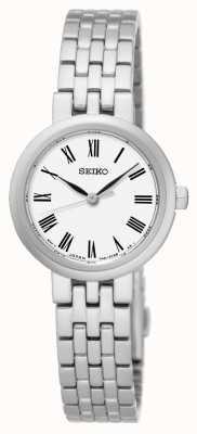 Seiko Bracelet en acier inoxydable à chiffres romains à cadran blanc SRZ461P1