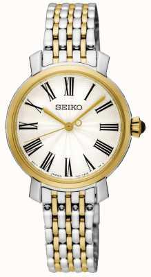 Seiko Bracelet en acier inoxydable deux chiffres en or avec chiffres romains SRZ496P1