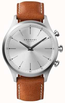 Kronaby Bracelet en cuir marron cadran argenté 41 mm a1000-3125 S3125/1