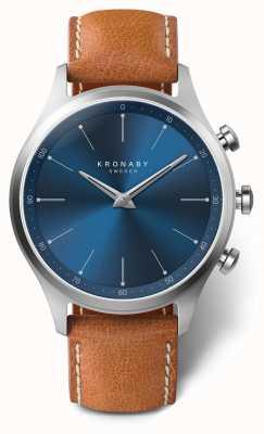 Kronaby Cadran bleu sekel 41mm bracelet en cuir marron A1000-3124