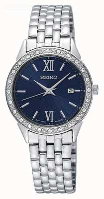 Seiko Cadran bleu cristal set lunette date affichage en acier inoxydable SUR691P1