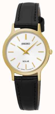Seiko Cadran blanc solaire en acier inoxydable or jaune or noir SUP300P1