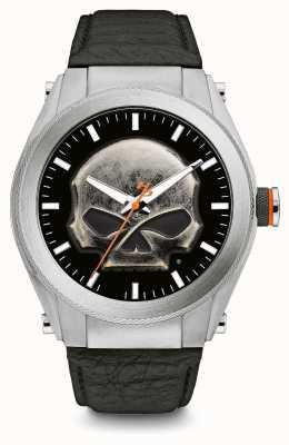 Harley Davidson Tête de mort en métal lourd, cadran épais, bracelet en cuir noir 76A156