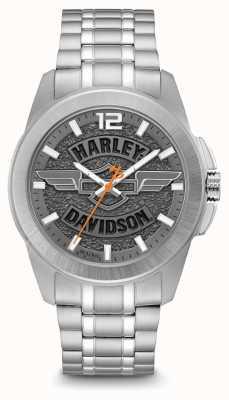 Harley Davidson Cadran à logo imprimé boîtier et bracelet en acier inoxydable argenté 76A157