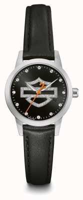 Harley Davidson Bracelet en cuir noir pour femme avec bracelet en cuir noir 76L181
