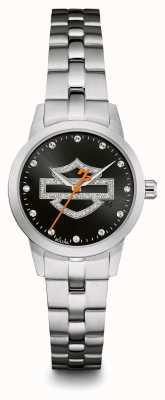 Harley Davidson Bracelet en acier inoxydable avec logo noir serti de cristaux 76L182