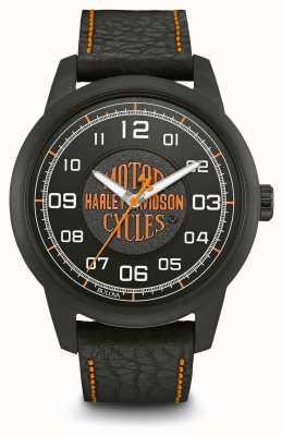 Harley Davidson Logo avec cadran noir, boîtier en acier plaqué ip, bracelet en cuir noir 78A116