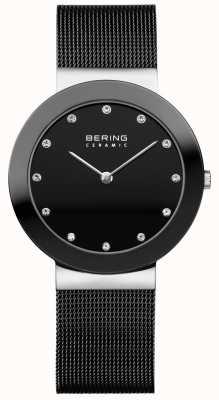 Bering Cristal ensemble cadran lunette en céramique bracelet en maille noire 11435-102