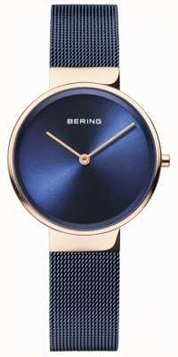Bering Cadran bleu classique pour femme, boîtier en or rose, maille plaquée ip bleue 14531-367