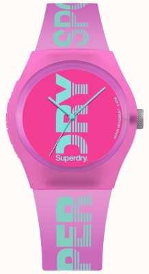 Superdry Imprimé logo cyan rose urbain pour femme SYL189PN