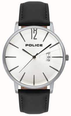 Police Men's date date d'affichage cadran blanc bracelet en cuir noir 15307JS/01
