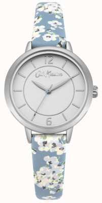Cath Kidston Bracelet en cuir à imprimé fleuri pour femme, argenté, acier inoxydable CKL046US