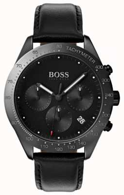 Boss Talent Chronographe Cadran Noir Affichage De La Date Cuir Noir 1513590