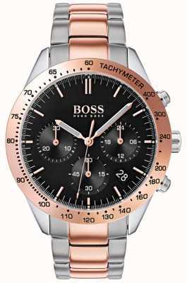 Boss Bracelet deux tons homme talent cadran noir or rose et argent 1513584
