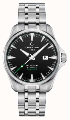 Certina Ds action automatique grande date cadran noir en acier inoxydable C0324261105100