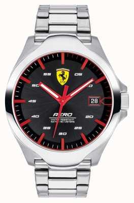 Scuderia Ferrari Bracelet homme en acier inoxydable avec cadran noir et affichage de la date aero 0830507