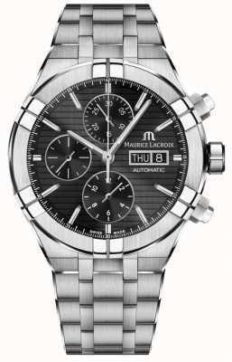 Maurice Lacroix Aikon chronographe automatique en acier inoxydable cadran noir AI6038-SS002-330-1