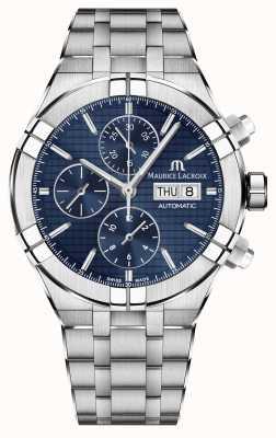 Maurice Lacroix Aikon montre automatique cadran bleu en acier inoxydable chronographe AI6038-SS002-430-1
