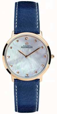 Michel Herbelin Bracelet en cuir bleu ikone pour femme avec cadran en nacre 16915/PR59BL