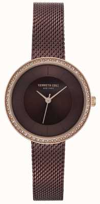 Kenneth Cole Womens diamant set marron cadran brun montre en maille KC50198003