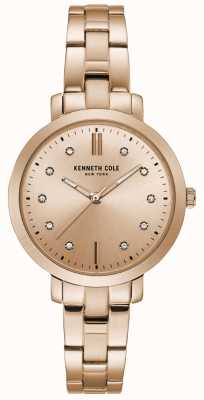 Kenneth Cole Womens diamant ensemble or rose boîtier en or rose bracelet montre KC15173005