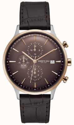 Kenneth Cole Montre chronographe homme rouge sur bracelet en cuir croco marron KC15181005