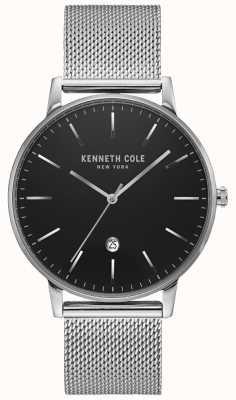 Kenneth Cole Montre classique en maille d'acier inoxydable argenté noir KC50009004