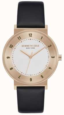 Kenneth Cole Classique boîtier en or rose bracelet en cuir noir KC50074003