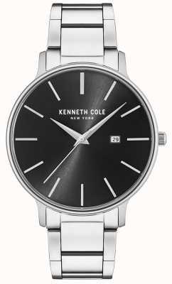 Kenneth Cole Montre cadran noir en acier inoxydable avec affichage de la date KC15059002