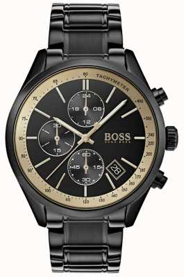 BOSS Montre Homme Grand Prix Noir IP / Or Accent 1513578