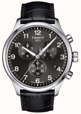 Tissot Mens t-sport xl chronographe cadran noir bracelet en cuir noir T1166171605700